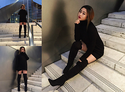 The Hala Way - H&M Turtleneck Pullover Sweater, Justfab Just Fab Natalka Thigh High Suede High Heel Boots - If I was Darth Vader's Main Chick