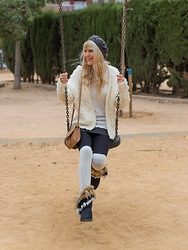 Tijana J.D - Mango Beret, H&M White Cardigan, H&M White Sweater, Lefties Mini Black Skirt, Primark Camel Bag, Primark Overthknee White Socks, Sammydress Black Faux Fur Snow Boots - Winter boots