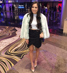 Rachel Vogt - H&M Skirt, Forever 21 Cropped Top, Valentino Rockstuds, Zara Fur Coat, Chanel Handbag, My Blog - Evening Blue