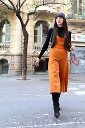 Paz Halabi Rodriguez - Vintage Ribber Top, Zara Orange Cropped Jumpsuit, Over The Knee Boots - CROPPED ORANGE JUMPSUIT