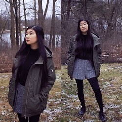 Jenny Ruan - Obey Coat, H&M Mock Neck Sweater, Urban Outfitters Skirt, Dr. Martens Oxfords - Damn Son Its Chilly