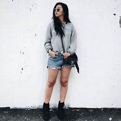 Tiffany Wang - Givenchy Purse, Acne Studios Ankle Boots, Reformation Shorts, Muji Sweater, Ray Ban Sunglasses - CALI WINTER