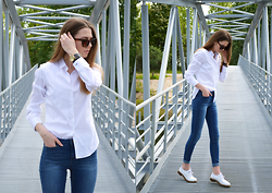 KRST VIEW Purytė - Bronx Shoes, Vero Moda Jeans, Zara Shirt, Asos Sunglasses, Filippo Loreti Watch - WHITE