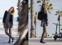 FRIDOANDLENN - Just Female Cute Dress, Zign Chelsea Boots, FjÄllrÄven Backpack, Zara Leather Jacket - BETWEEN SOME PALM TREES