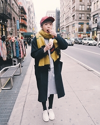 Angela Miuz Chan - Zara Red Cap, Topshop Striped Coat, Dr. Martens White Shoes, Asos Grey Dress - Nuts for Nuts