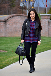 Kimberly Kong - Gentle Fawn Plaid Button Front, H&M Moto Jacket, Madewell Black Dress Pants, Rebecca Minkoff Quilted Bowler Bag, Nine West Ankle Boots - Gentle Fawn: The Tencel Button-front