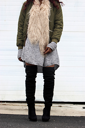 Kee Simone - Missguided Quilted Bomber Jacket, H&M Faux Fur Shawl, H&M Pullover Sweater, Charlotte Russe Over The Knee Suede Boots - The Morning After