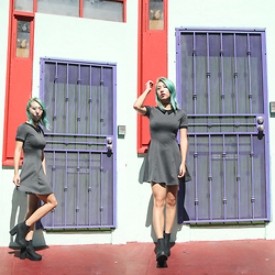 Jin Jung - Forever 21 Choker, H&M School Girl Dress, H&M Black Booties - Chinatown X School Girl