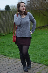 Sarah M - Primark Sweater, Forever 21 Bag, C&A Skirt, Bullboxer Boots - Red & Grey