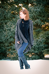 Lindsey Puls - Modcloth Asymmetrical Cardigan, Kelly & Katie Boots - I Take It Back