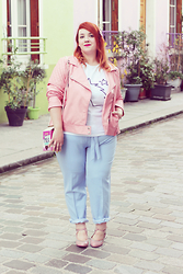 Audrey G. - Simply Be Pink Biker Jacket, Asos T Shirt With Unicorn Print, Dorothy Perkins Blue Pants, Cristofoli Pink Shoes, Accessorize Milk Bottle Shape Bag - Pastel dream