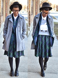 Sushanna M. - Black Fedora, Heather Grey Double Breasted Coat, Vintage Blue Green Tartan Blazer, Blue Green Plaid Skirt, Vintage Men's Wingtip Tassel Loafers - One For The Money