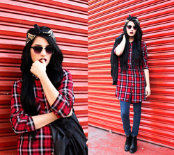 Freesia B - Obey Scarf, Lob Sunglasses, H&M Plaid Shirt, Levi's® Jegging Jeans - The Plaid Shirt