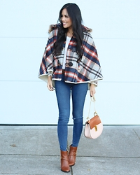 Rachel Vogt - Nordstrom Cape, J Brand Jeans, Chloé Drew Bag, Burberry Boots, My Blog - Plaid Cape