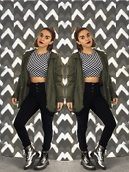 SV - American Apparel Print Cropped Sweater, H&M High Waisted Button Up Pants, Dr. Martens Silver Boots - Chaotic