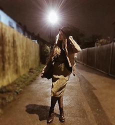 Carla V - Monki Hat, Saints And Mortals Suede Jacket, Ksubi Boots - Black-gold-suede