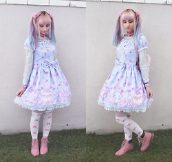 Soyeon Choi - Bodyline Squirrel Party Op, Ebay Bow Knee Socks, Duffy Pink Shoes - Squirrel party lolita