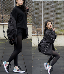 Gi Shieh - H&M Fine Knit Turtleneck Sweater, Northeastern University Huskies Windbreaker, Forever 21 Lace Shorts, Black Tights, Adidas Courtvantage Mid Shoes - Prismatic