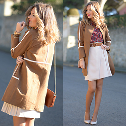 Helena Cueva - Choies Coat, Chicwish Skirt, Mango Shirt, Zara Heels, Zara Handbag - Monday