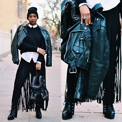 Nia Groce - Buffalo Exchange Leather Jacket, & Other Stories Neoprene Top, H&M Fringe Skirt - Brooklyn Minimalism