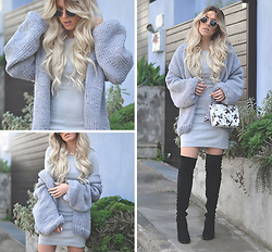 Dena T. - Elly Pistol Dress, Mum's Knit Cardigan - GREY ON GREY | Outfit Of The Day