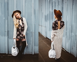 Aika Y - Brixton Coffee Westword Wool Fedora, Free People Knit Long Cardigan, Cleobella White Leather Studded Backpack, Flynn Skye Floral Print Mini Dress, Native Riot Aztec Dainty Necklace, Free People White Lace Halter Bra, Justfab Over The Knee Boots - Boho Floral In A Rainy City