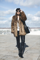 Inês M - Little Mistress Faux Fur Coat, Simmishoes Boots - The Parisienne