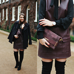 Andreea P - Dune London Clutch, Jane Norman Blouse, Gloverall Coat, Public Desire Boots, Forever 21 Dress - Burgundy alert