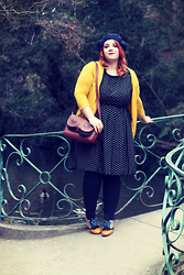 Audrey G. - Modcloth Mustard Cardigan, Laura Clément Polka Dots Dress, Poetic Licence Yellow, Brown & Blue Shoes, Modcloth Fox Bag, Blue Beret - Cambridge girl