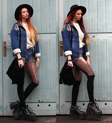 Liza LaBoheme - Aztec Pattern Denim Jacket, Distressed Denim Shorts, Similar Here:, Knitted Sweater, Similar Here:, Faux Suede Fringe Bag, Triangle Necklace, Demonia Platforms - Rat in the trap
