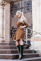 Krist Elle - Faux Suede Dress, Olive Faux Suede Lace Up Open Toe High Heel Boots, Zerouv Aviator Sunglasses - Suede dress