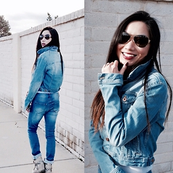 Chic and Nerdy Nymph - Forever 21 Denim Jacket, Charlotte Russe Jeans, Aldo Shoes, Coach Sunglasses - Denim on Denim