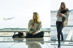 FRIDOANDLENN - Urban Outfitters Checked Scarf, Asos Ripped Jeans, Zign Chelsea Boots, Zara Cosy Sweater, Zara Chain Bag - AT THE AIRPORT