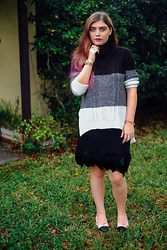 Skye V - Gianni Bini Ombre Sweater, Nicole Miller Feather Skirt, Chanel Ballerines - Coco