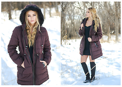 Rachelle Kathleen - Old Navy Maroon Puffer Coat - Baby It's Cold