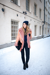 Sanna - Acne Studios Jacket, Steve Madden Boots - Blue and pink