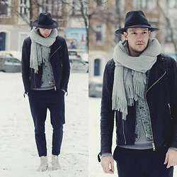 Ben W. - Allsaints Hat, H&M Scarf, Allsaints Leather Jacket, Allsaints Pants, Allsaints White Boots - Winter Wonderland