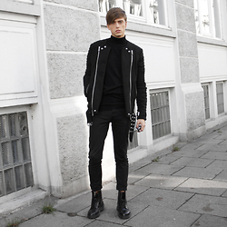 Georg Mallner - Balmain Jacket, Jil Sander Pants, Dr. Martens Boots, Cos Turtle Neck - January 24, 2016 / INSTAGRAM: GEORGXM