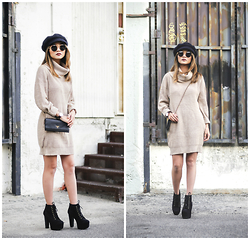 Atsuna Matsui - Znu Apricot Polo Neck Loose Knit Sweater, Nasty Gal Spiftire Lennon Aviator Shades, Prada Saffiano Leather Chain Wallet, Aquapillar Suede Rosa Cap Toe Lace Up Bootie, Goorin Brothers Vendy Lucka Knit Beret - Small Girl in a Big City