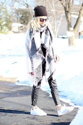 Kim Tuttle - Chanel Quilted Collection, Juicy Couture Beanie, Forever 21 Bouclee Coat, D&Y Blanket Scarf - Sneaker style