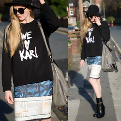Agata 30UP - Karl Lagerfeld Blouse, Diesel Boots, Clover Canyon Skirt, H&M Hat - We Love Karl