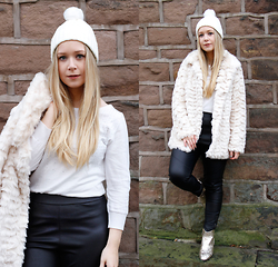 Emma Reay - Boohoo White Bobble Hat - Casual Winter Afternoon