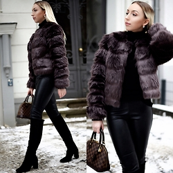 Vanessa Kandzia - Juicy Couture Jacket, Leather Pants, Boots - FURRY JACKET + LEATHER PANTS