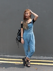 Ellena Young - Jeffrey Campbell Shoes Bucked Platforms, Nasty Gal Bag, Asos Top - Dungaree Day