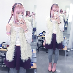 Soyeon Choi - H&M White Crop Top, Thrifted Fluffy Faux Fur Vest, H&M Skirt, Monki Grey Leggings, Duffy Pink Shoes - Adorable but damaged
