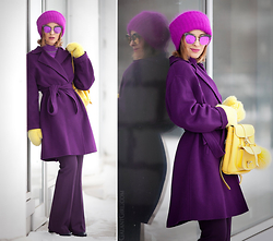 Galant-Girl Ellena - Grafea Backpack, Maxmara Robe Coat, Gentle Monster Mirror Sunglasses - Total Purple...