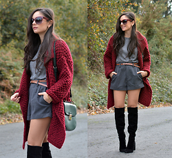 Alba . - Chicwish Cardigan - High Boots & Grey