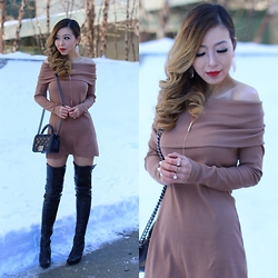 Sasa Zoe - Knit Dress, Necklace, Ring, Earrings, Otk Boots, Bag - WINTER DATE NIGHT