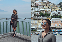 Carissa Alvarado - Wayf Shirt Dress, Crap Eyewear Tortoise Sunglasses, Missguided Gladiator Sandals - Amalfi Coast