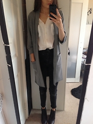 Grace - New Look Black & White Duster Coat, Primark White Blouse, Topshop Black High Waisted Jeans, New Look Black Chelsea Boots - Duster Coat